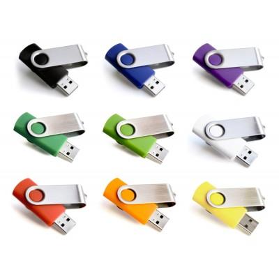 USB flash disk s otočným kovovým krytem